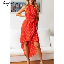 Dropship Midi Sleeveless Summer Dress Sexy Bodycon Dress Dot Print Women Dresses Party Beach Dresses 2020 Sashes Female Clothes