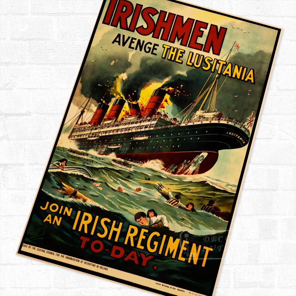 Irishmen - Avenge the Lusitania WWI WW1 Propaganda Poster Vintage Retro Canvas DIY Wall Stickers Home Posters Art Bar Decor
