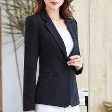 2020 New Fashion Spring Autumn Women Blazer Female Slim Long Sleeve Single Button Coat Jacket Ladies Fashion Solid Black Work