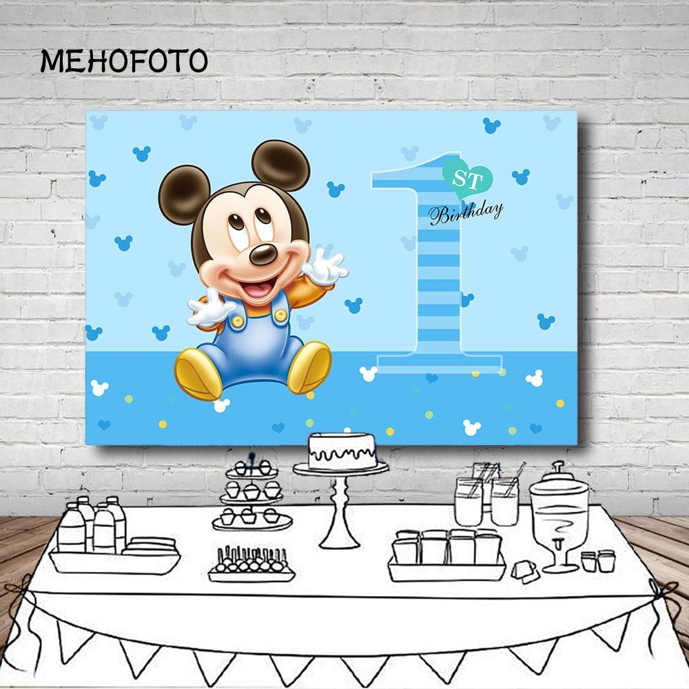MEHOFOTO fondo de fotografía azul bebé Mickey Boyss fiesta de cumpleaños fondos para estudio de fotografía 7x5 pies vinilo