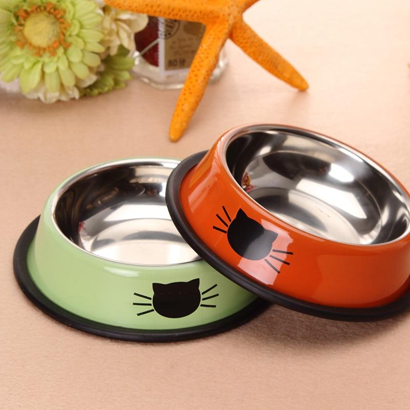 Thicken cat bowl dog bowl pet food bowl cat bowl water bowl tableware rice bowl single bowl stainless steel pet bowl