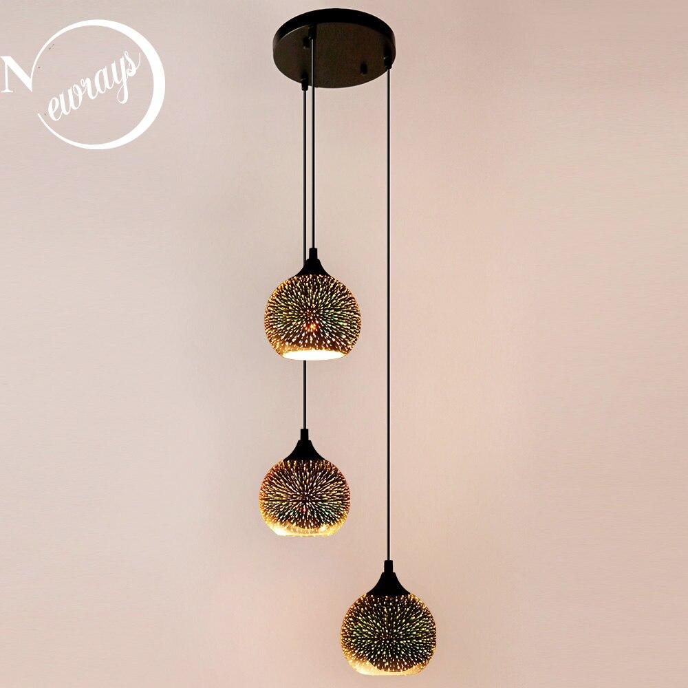 الشمال الحديثة 3 حزمة الزجاج الملون قلادة مصباح LED E27 ثلاثية الأبعاد التصميم الإبداعي لوفت مصابيح تعليق للزينة صالون مطعم بار فندق