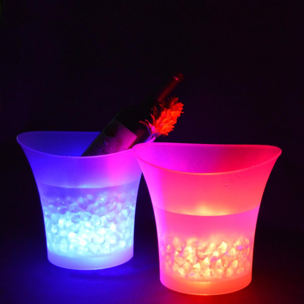 جديد LED 5L مقاوم للماء دلو ثلج بلاستيكي 7 لون البارات النوادي الليلية مصباح ليد حتى الشمبانيا دلو البيرة البارات ليلة حفلة الجليد دلو