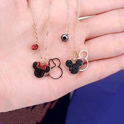 Disney Mickey mouse dessin animé dame argent collier femmes mode chandail accessoires cadeau bijoux belle Minnie chaîne
