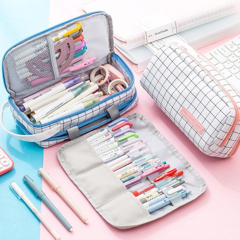 Grande capacidade caixa de lápis bonito grade lona pencilcase multifuncional rolo lápis saco presentes papelaria caneta bolsa de volta à escola