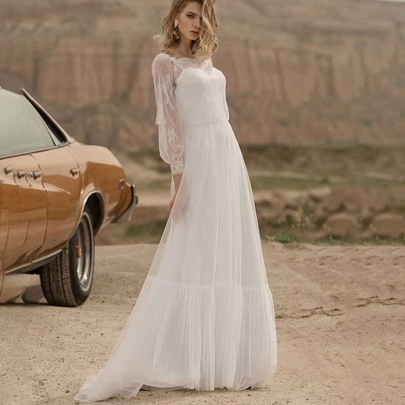 Review Plus Size Beach Princess Wedding Dress Boat Neck Long Sleeves Lace Custom Made Floor Length Maxi Seaside Tulle Bridal Gowns