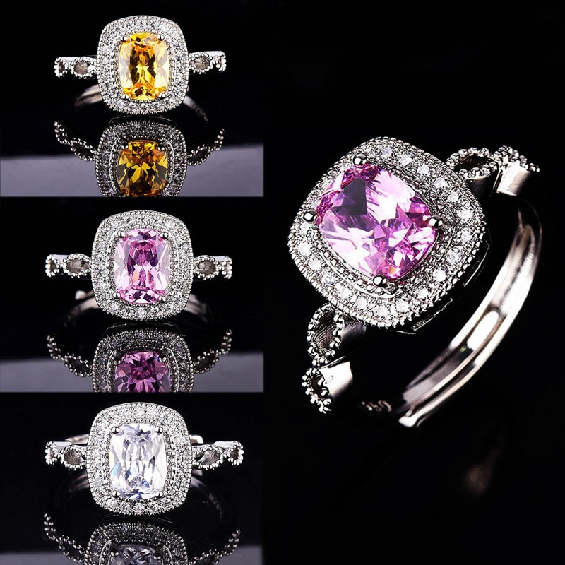 925 Sterling Silver Classic Square Rings Inlay Dazzling Moissanite Luxury Eternity Jewelry For Women Wedding Engagement Anillos
