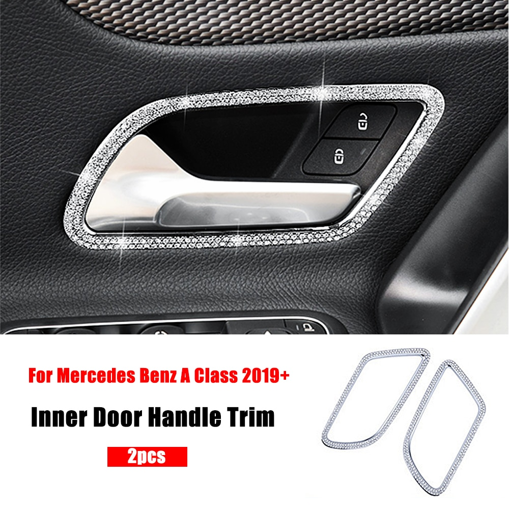 Pour Mercedes Benz classe A W177 2018 2019 2020 A180 A200 A220 A250 A35 AMG poignée de porte intérieure cadre diamant garniture cristal autocollant