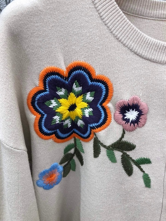 100%Cotton Knitted Cardigans 2021 Autumn Winter Tops Coat Women Floral Embroidery Knitting Long Sleeve Apricot Blue Cardigans enlarge