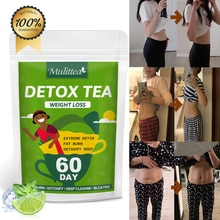 Mulittea 60Day Weight Loss Product Herbal Detox Drink Burning Belly Fat Cleansing Reduce Constipatio