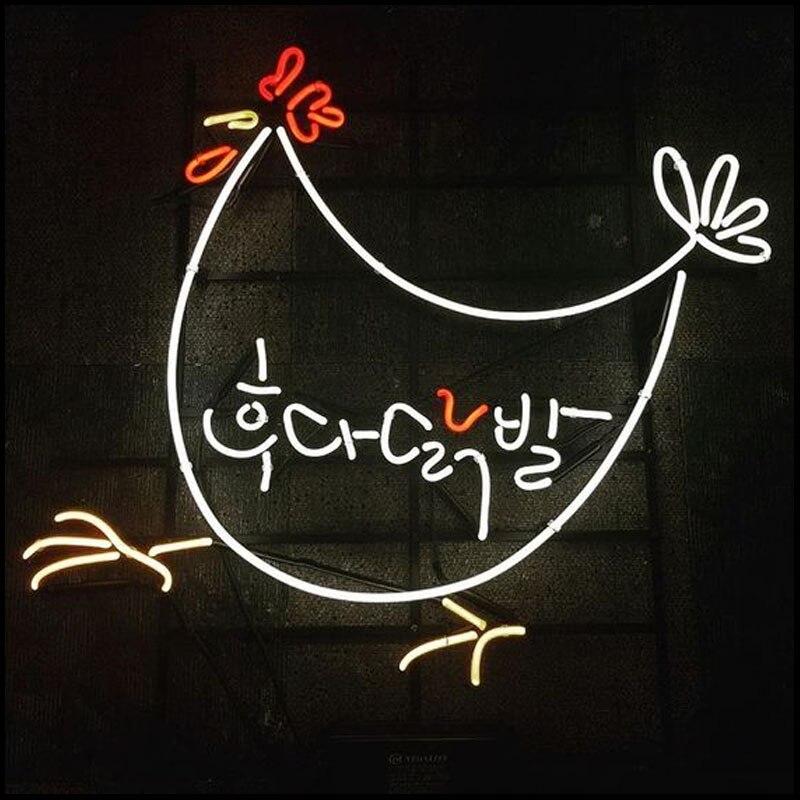 علامة نيون لأقدام الدجاج المقرمشة أنابيب زجاجية حقيقية مصباح البيرة مصباح الفندق ضوء resterant الإعلان عن شعار مخصص ضوء الفن اليدوية
