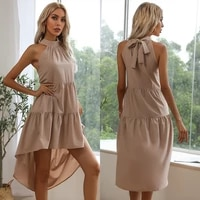 summer elegant brown dress women halter bandage tail pleated sexy party vintage casual evening night midi dresses woman
