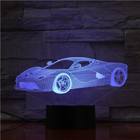 Super legal esportes carro 3d lâmpada 7 cores led noite lâmpadas para crianças toque led usb mesa lampara lampe bebê nightlight