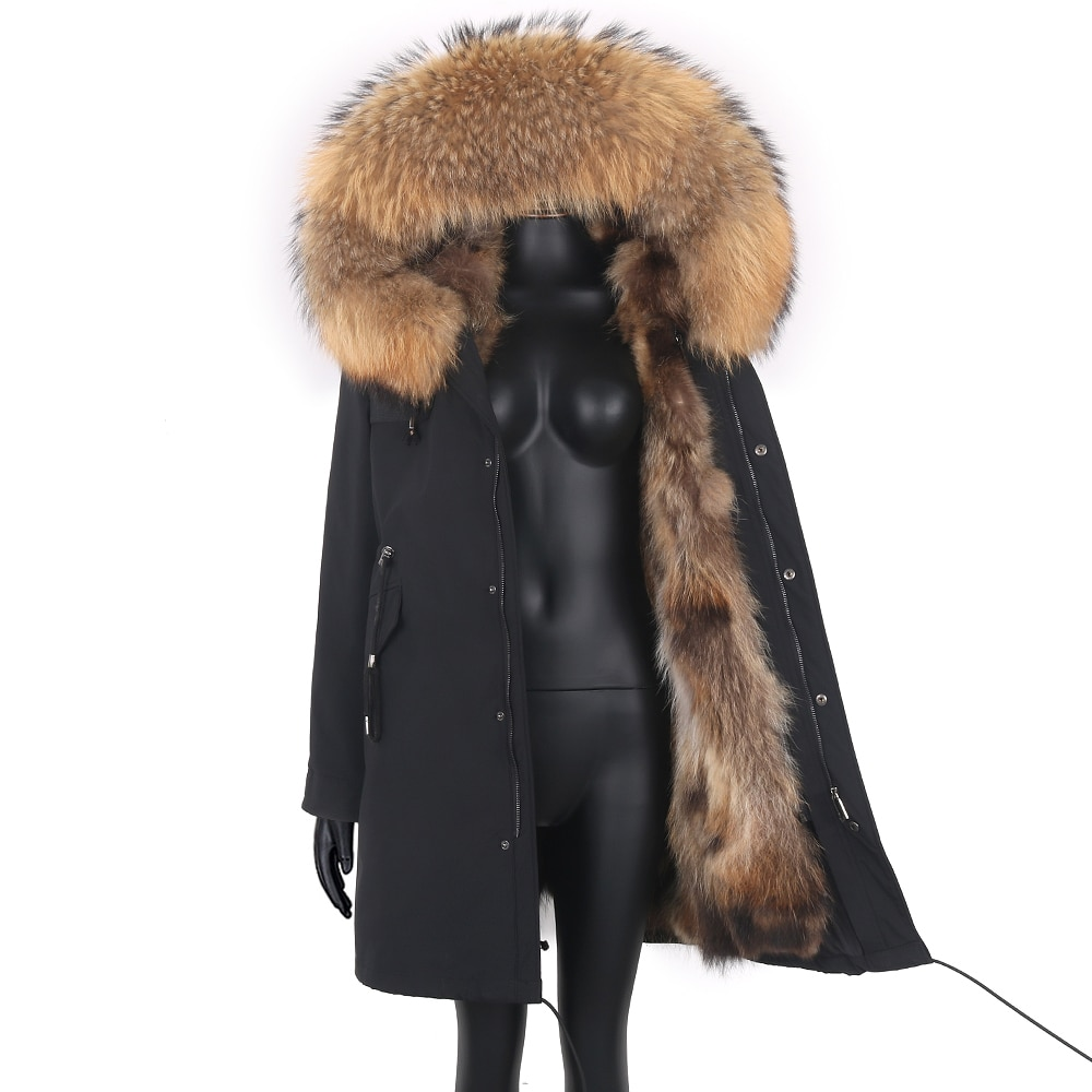 Women 7xl Fox Fur Coat Parkas Winter Jacket Coat Waterproof Parka Big Real Fur Collar Natural Fox Fur Liner Long Outerwear