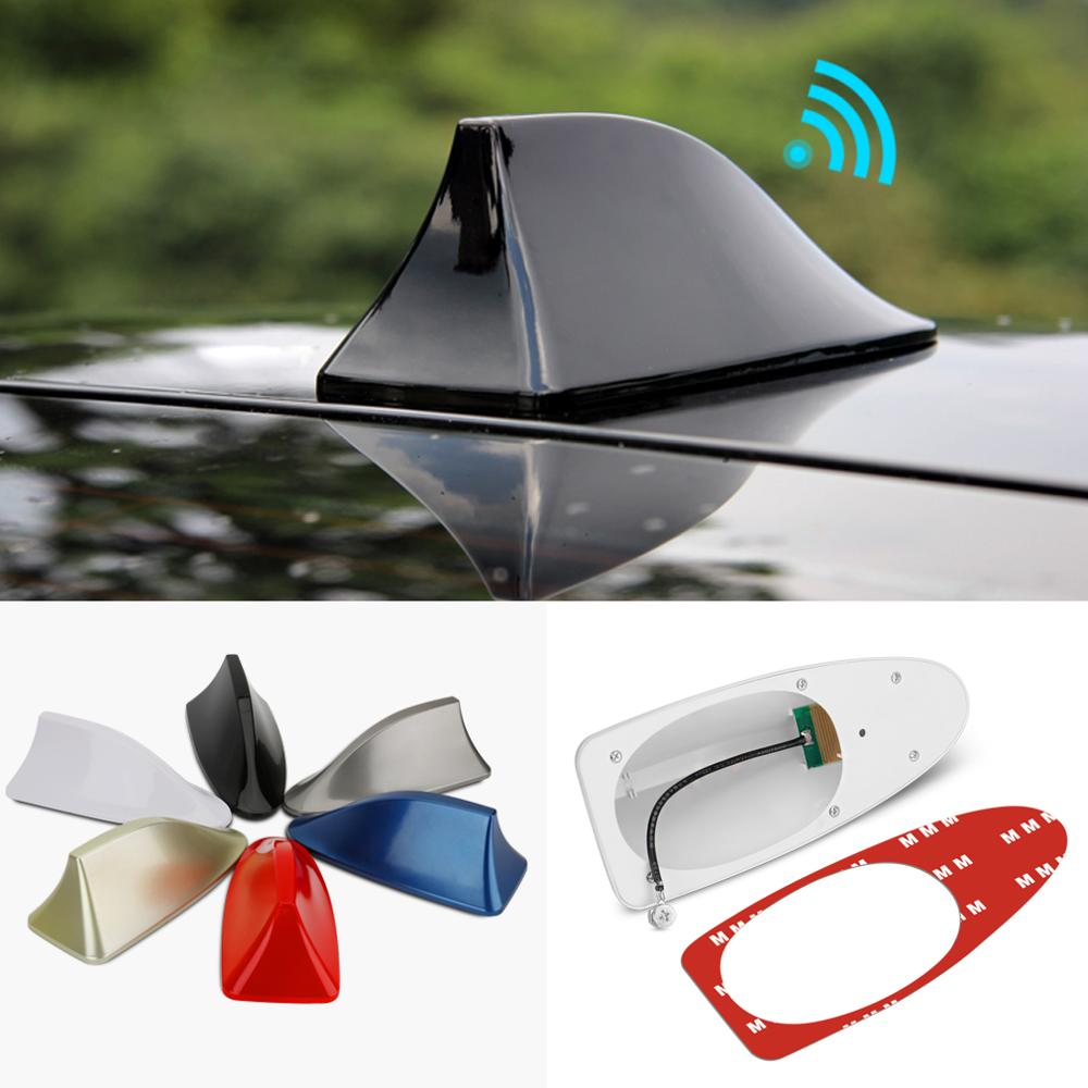Universal Car Shark Fin Antenna Car Radio Aerials FM/AM Signal Protective Aerial Car Styling Car Roof Decoration Sticker Base 21 5 length black car antenna roof am fm aerial car stereo radio antenna car accessory for ford focus 2000 2007