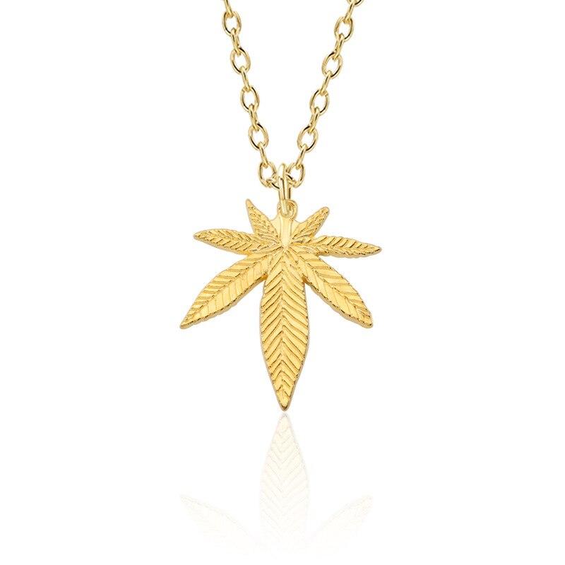 Collier en forme de feuille dérable pour hommes et femmes, pendentif en feuille de chanvre, chaîne à breloques, accessoires, bijoux, cadeaux, tendance