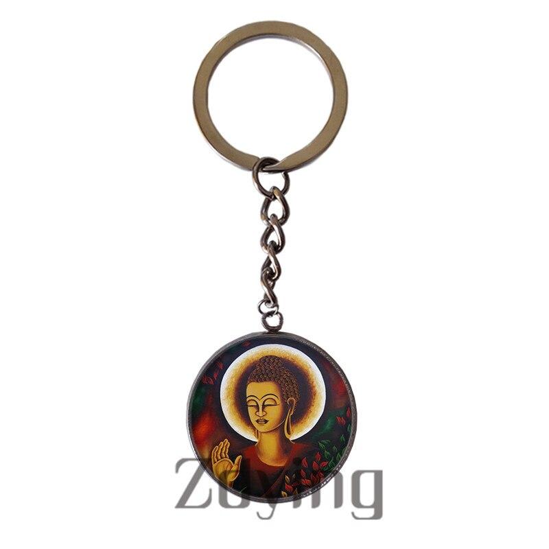 Zdying Acero inoxidable budismo Buda llavero 20mm/25mm redondo cristal cabujón encanto llavero religión joyería BH012