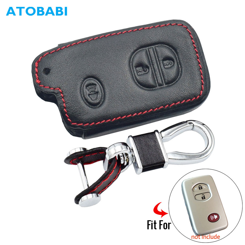 Кожаный чехол для автомобильного ключа для Toyota Land Cruiser 5700 Prius, сумка для автомобильного брелка с 3 кнопками, умный пульт дистанционного управ...