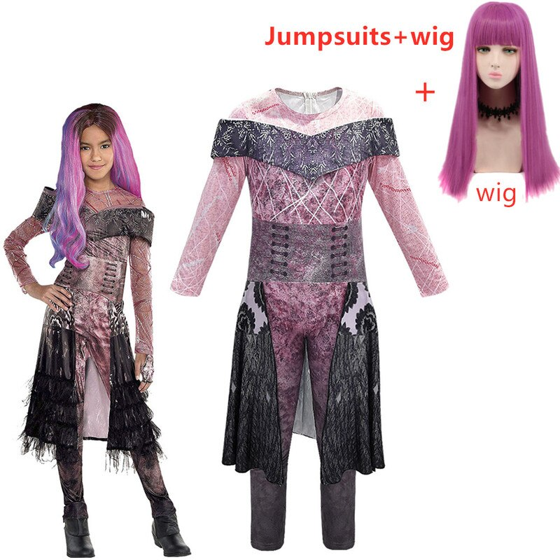 Descendants 2 Mal Bertha maléfica Long Live Evil Straight Purple niños adultos Cosplay peluca + monos disfraz de halloween para niños