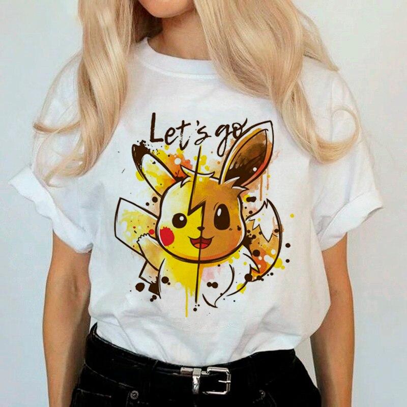 LUSLOS Women T Shirt Short Sleeve Casual White Tee Shirt Pokemon Printed Japanese Anime Tshirts Women Streetwear Tee Tops