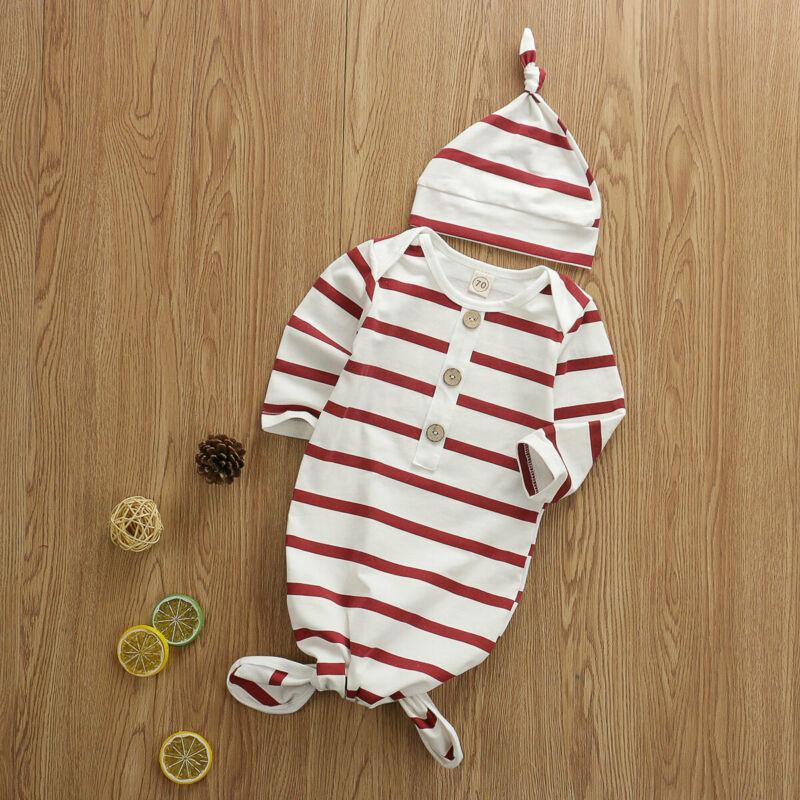 Reino unido bebê recém-nascido meninas 0-6 m listrado dormir swaddle saco cobertor com chapéu 2 pçs