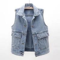 2021 summer new vintage blue big pocket denim vest women waistcoat slim short sleeveless jacket coat student jeans vests female