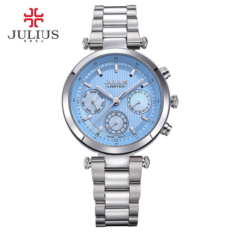 2017 Julius Watch Women Stainless Steel Chronograph 3 Dials Limited Edition Silver Quartz High Quality Top Brand Whatch JAL-029