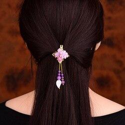Concha de Resina Flor Hairpin Enfeites de Cabelo Jóias Headwear Barrettes Mulheres Grampo de Cabelo da moda Roxo Jade Cabeça Acessório
