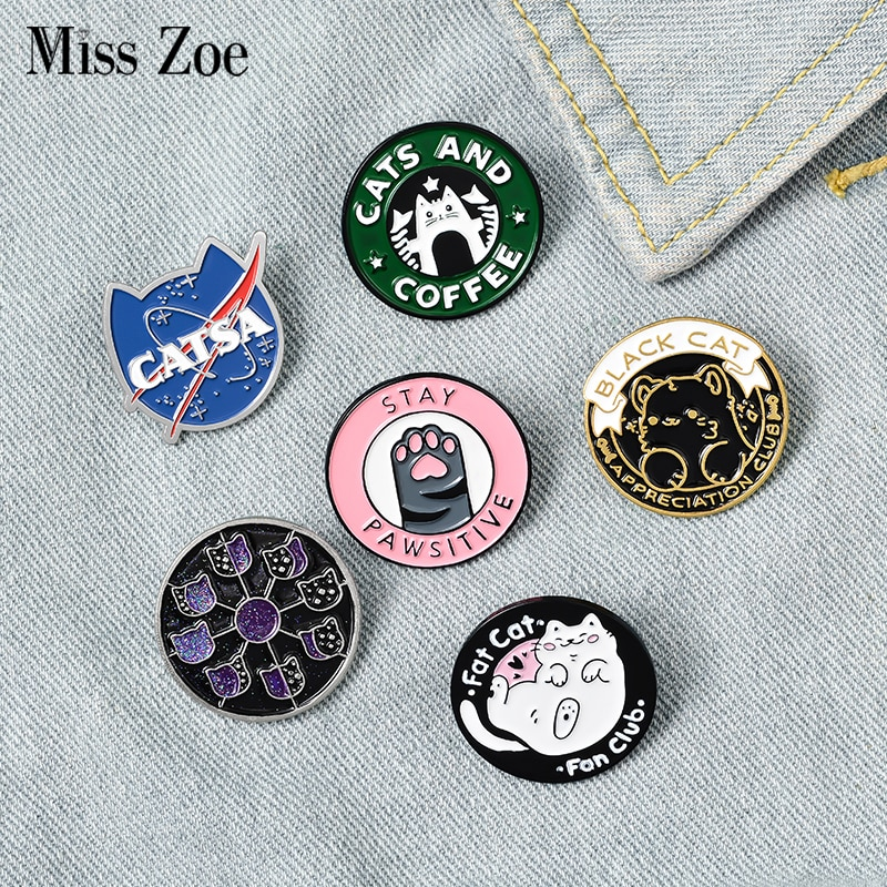 Эмалированная булавка в виде кота, клуба, кошки, планеты, Луны, кафе, лапы, значки на заказ для котенка, брошь на лацкан, джинсы, рубашки, сумки,...