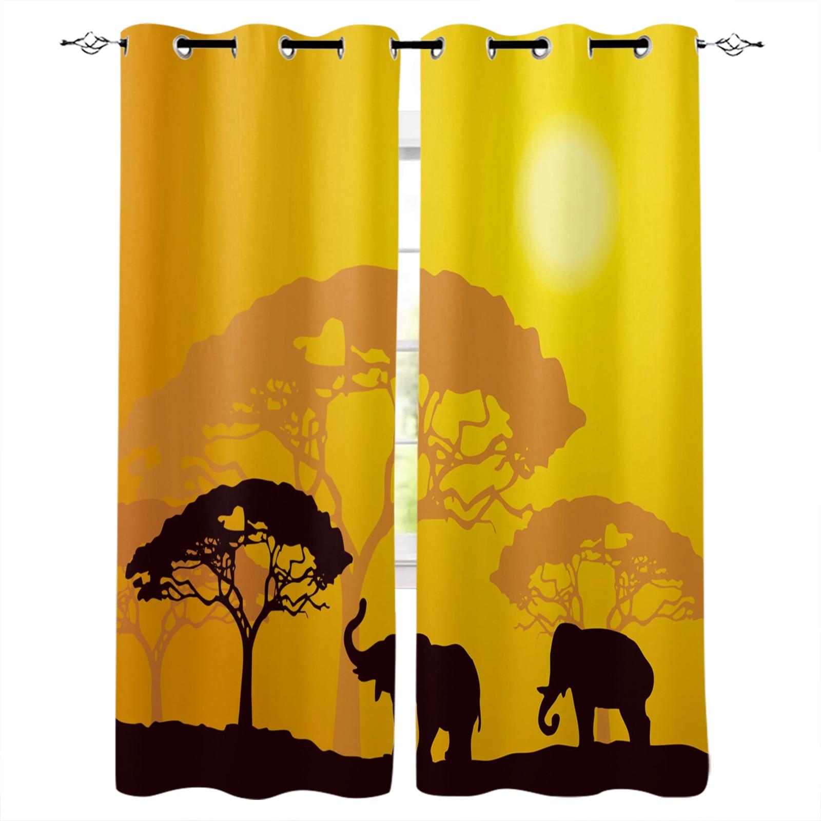 الفيل الأفريقي الغابات الغابة الصور الظلية الستار للمطبخ غرفة المعيشة غرفة نوم الستائر ديكور المنزل أشكال عرض النوافذ الستائر