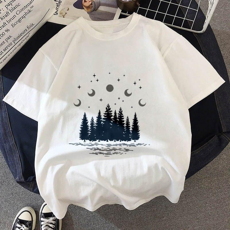 Nueva camiseta de impresión forestal oscura carta universo fe Harajuku camiseta de mujer o-cuello de manga corta blanca Tops ropa femenina