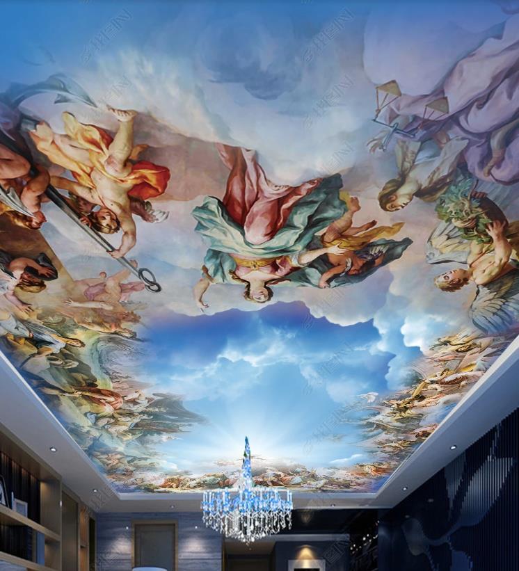 Personalizado céu azul e nuvens brancas 3d teto hotel sala de estar quarto papel parede para paredes 3d teto à prova dwaterproof água 2020