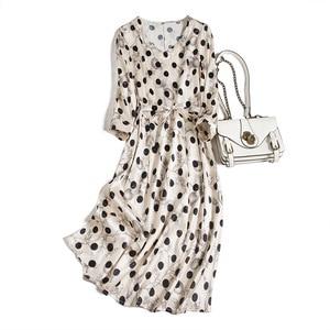 Silk Dress New Heavy Satin Polka Dot Mid-length Fashion Western Style Slim Mulberry Silk Skirt White Dress White Dress Women