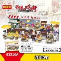 Xipoo Mini Hong Kong Street Food View Blocks Diamond Building Toy fishballs fruit stall barbecue booth egg waffle Food Shop