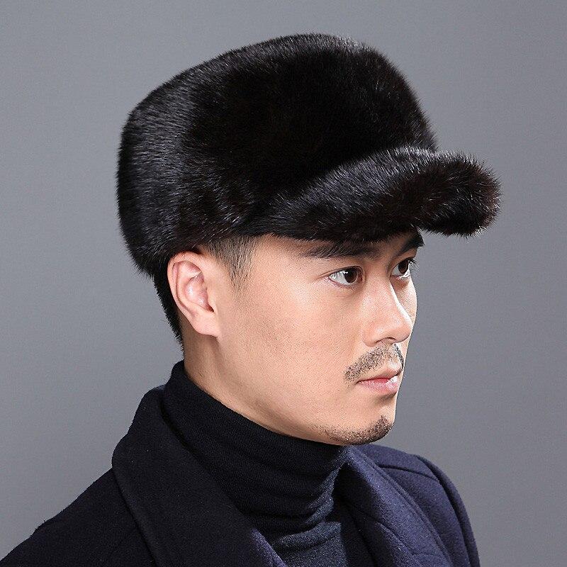 Men's Leather Straw Hat Winter Mink Fur Warm Earmuffs Aviator Hat Plus Velvet Flat Top Cap Cap Outdoor Thick Warm Cotton Cap