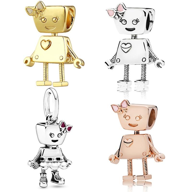 Perlas de perro Bobi compatibles con la Pulsera Original Pan, abalorios, joyería para mujer, accesorios Bella Robot Pulseira, regalo de niña, Berloque DIY
