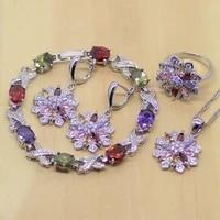 flower green red purple pink white cz women 925 sterling silver jewelry sets earringspendantnecklaceringbracelet