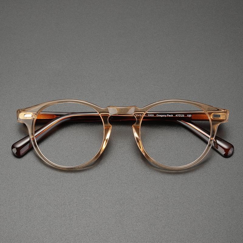خمر نظارات خلات الأسيتات إطار الرجال جودة عالية الرجعية مستديرة النظارات البصرية قصر النظر القراءة النساء نظارات واضحة