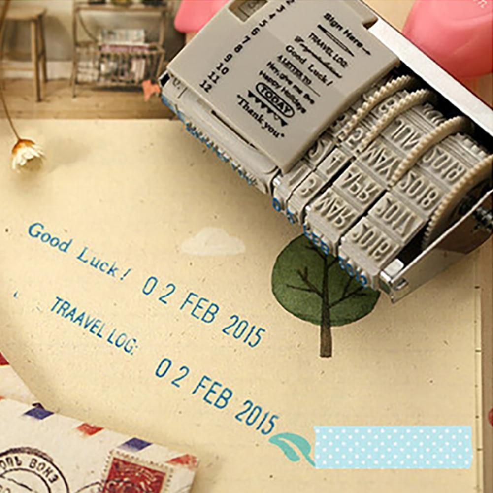 1 pçs do vintage plástico rolamento carimbo mês data diy carimbos de roda diário álbum scrapbooking selos