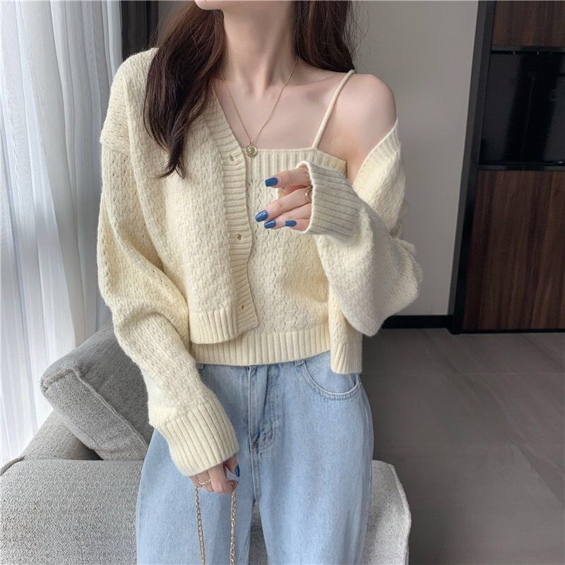 New knitted cardigan sweater women single breasted long sleeve knitwear korean chic all-match short