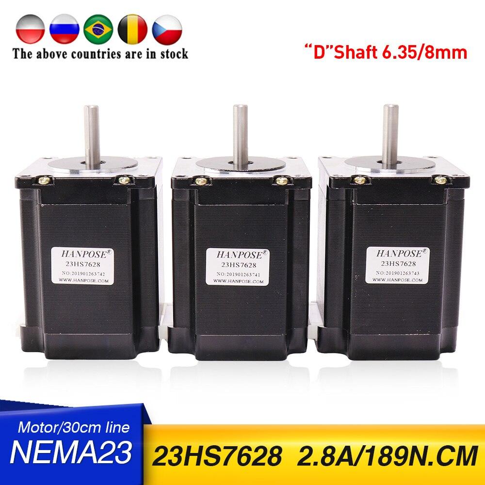 شحن مجاني 3 قطعة 23HS7628 Nema23 محرك متدرج 270 أوقية. in = 1.9NM رمح واحد 2.8A 189N.cm لملحقات طابعة ثلاثية الأبعاد