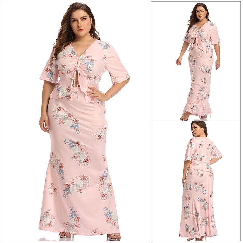 Chiffon vestido elgant flor impresso dois pçs dividir oco para fora magro plus size 4xl elegante grande swing vestido oversize vintagte wea
