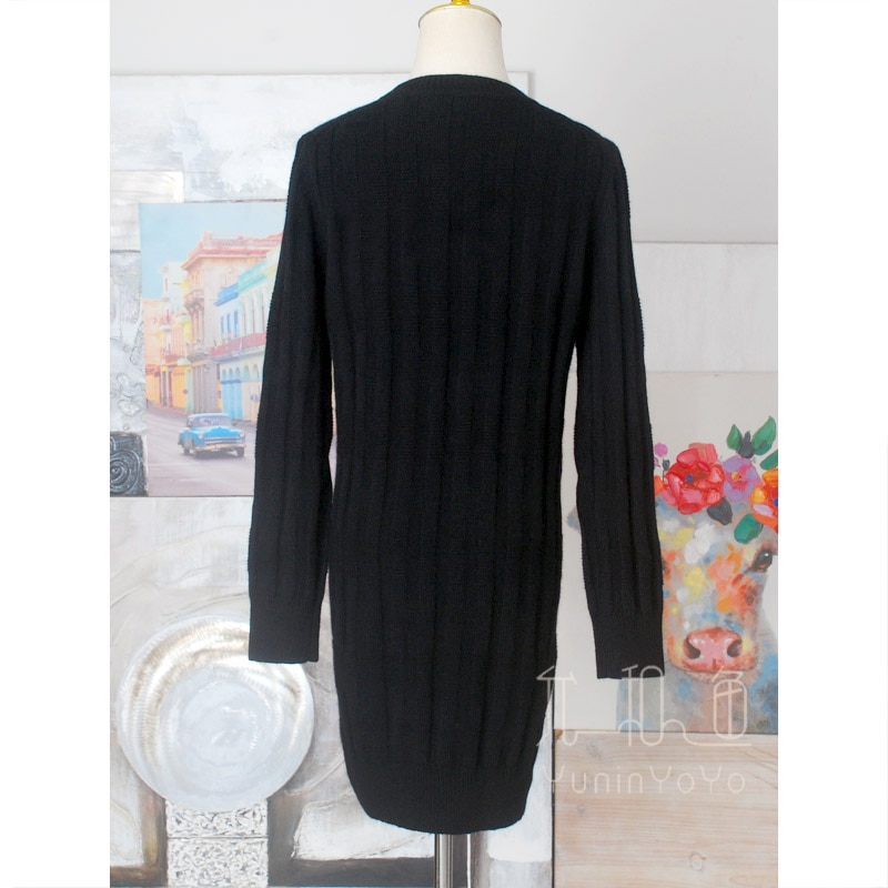 Corrugated weave wide stripe crew neck long all wool women's sweater dress black and white enlarge