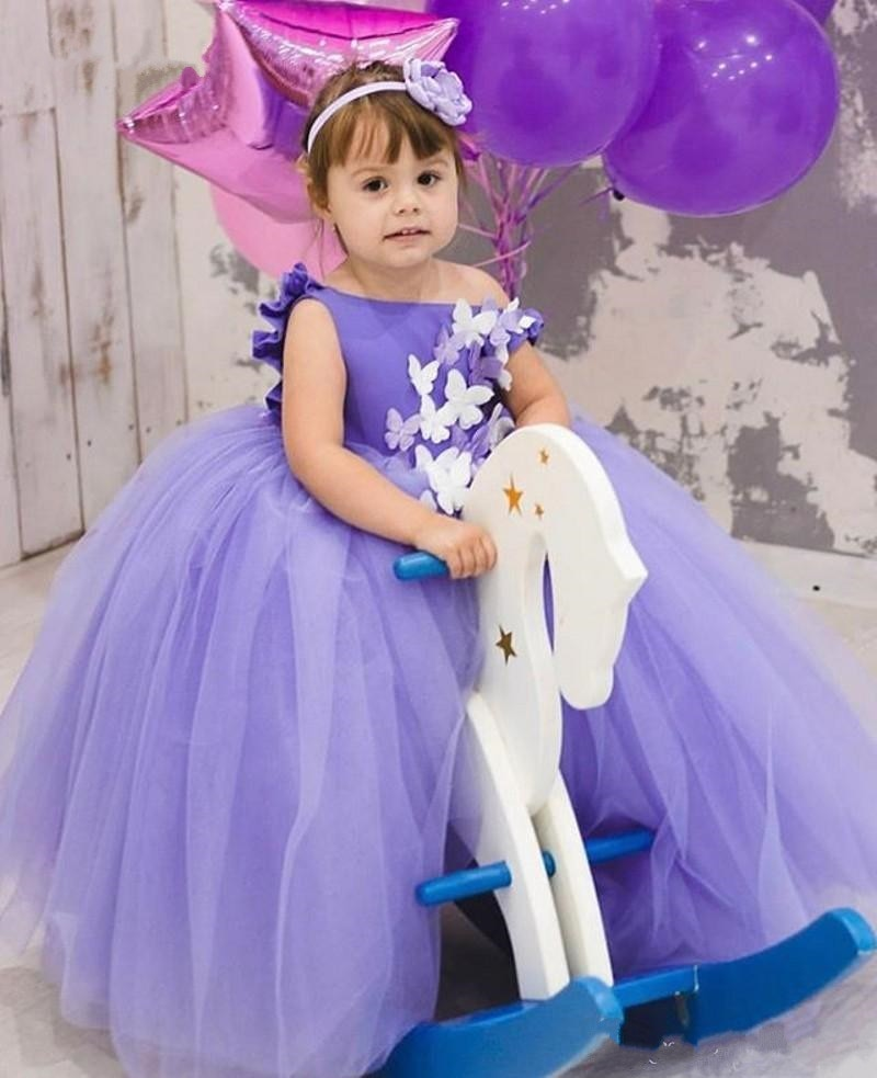 First Communication Girls Puffy Butterfly Dresses Purple Butterfly Flower Girls Dress Girls Puffy Celebrity Ball Gowns Custom
