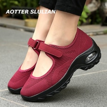 Air Cushion Slope Heel Shoes Female Increase Loafer Women Casual Mesh Sneaker Breathable Shoes Zapat