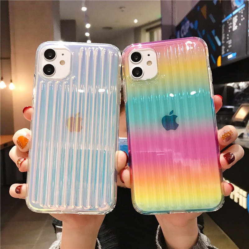 Funda de teléfono transparente colorida con láser LOVECOM para iPhone 11 Pro Max XR X XS Max 7 8 Plus, funda suave de TPU + PC, carcasa de teléfono desigual