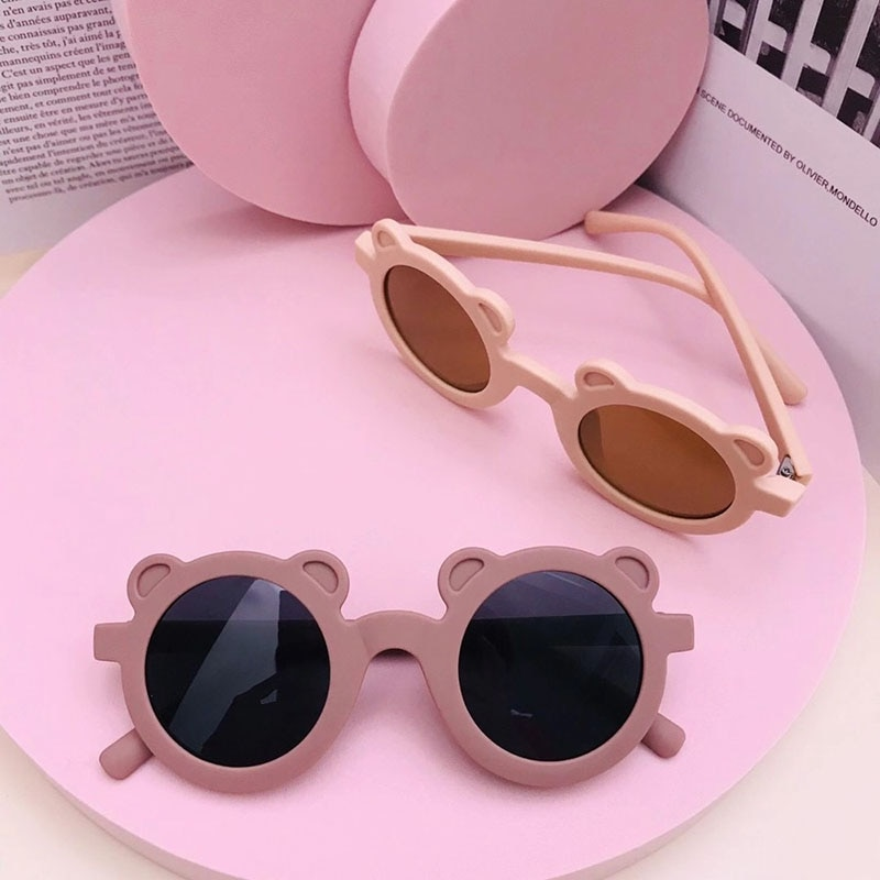 New Cartoon Lovely Kids Sunglasses Bear Shape Frame Girls Children Sun Glasses Round Street Beat Bab