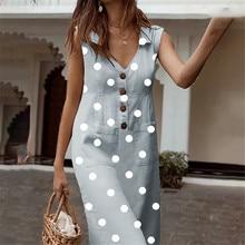 Littlerossa Sommer frauen Kleider Elegante Dot Print Boho Kleid Feminine drehen-unten Kragen Kleid Taste Tasche Kleid Vestidos