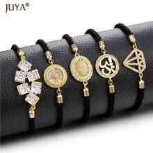 Bracelets à breloques en cristal zircon cubique à chaîne noire réglable pour femmes hommes pulseras bileklik bayan