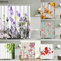 beautiful colorful flower floral printed shower curtains frabic waterproof polyester bath curtain with hooks 180x180cm